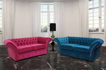 Chesterfield Balmoral 2 + 2 Seater Sofa Settee Suite Danza Fuchsia Pink And Teal Fabric