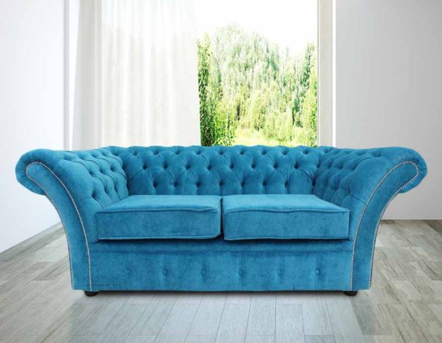 Chesterfield Balmoral 2 Seater Sofa Settee Danza Teal Fabric