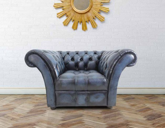 The Scholar Chesterfield Buttoned Base Armchair Antique Blue Leather Piped Facing