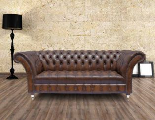 Chesterfield 3 Seater Balmoral Leather Sofa Antique Brown