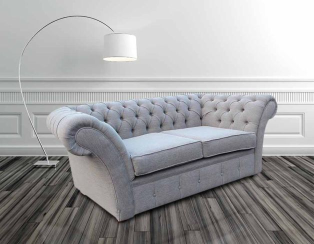 Chesterfield Cambridge 2 Seater Sofa Settee Verity Plain Silver