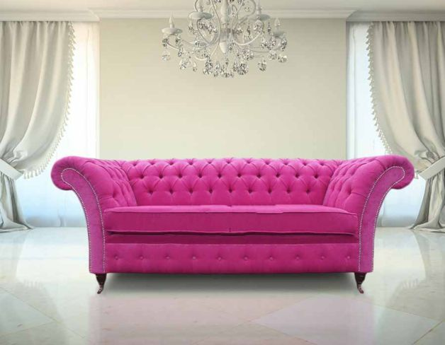 Chesterfield Drummond Fuchsia Fabric Sofa