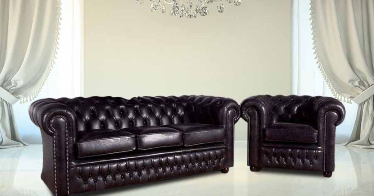Buy Chesterfield Furniture Leather Suite Designersofas4u