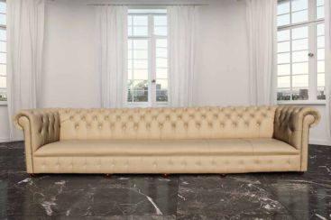 Chesterfield Lincoln Crystal Diamond 6 Seater Leather Sofa Ivory Leather Offer