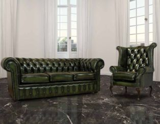 Chesterfield London 3 Seater + Queen Anne Wing Chair Sofa Suite Antique Green