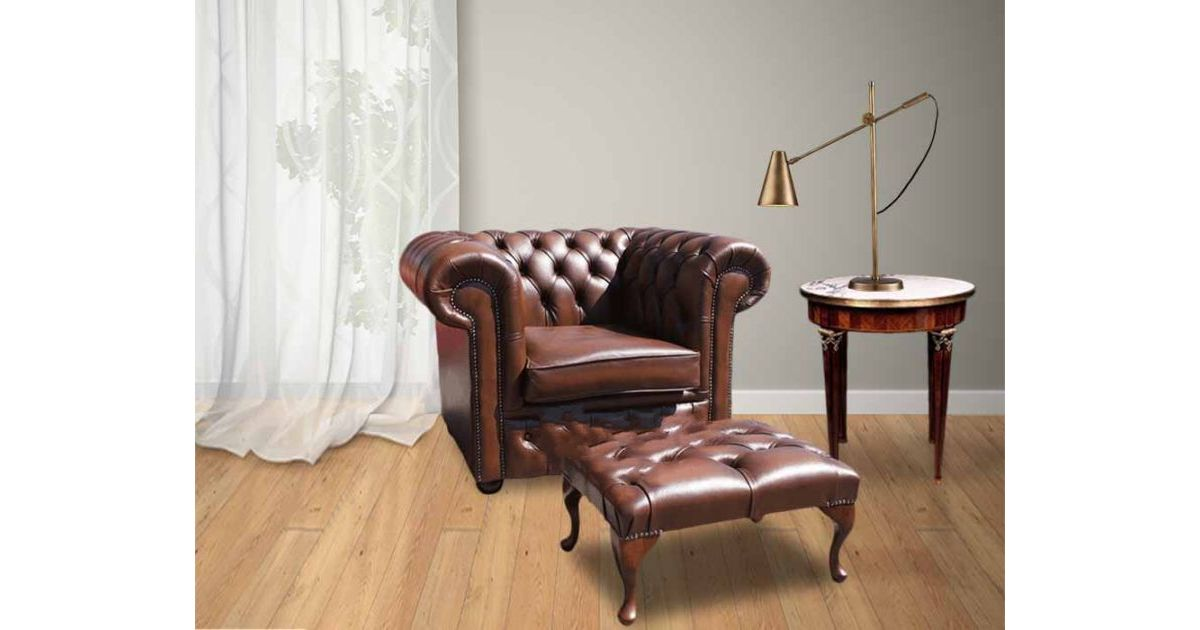 vintage leather footstool leather chesterfield armchair amp footstool designersofas4u 3235