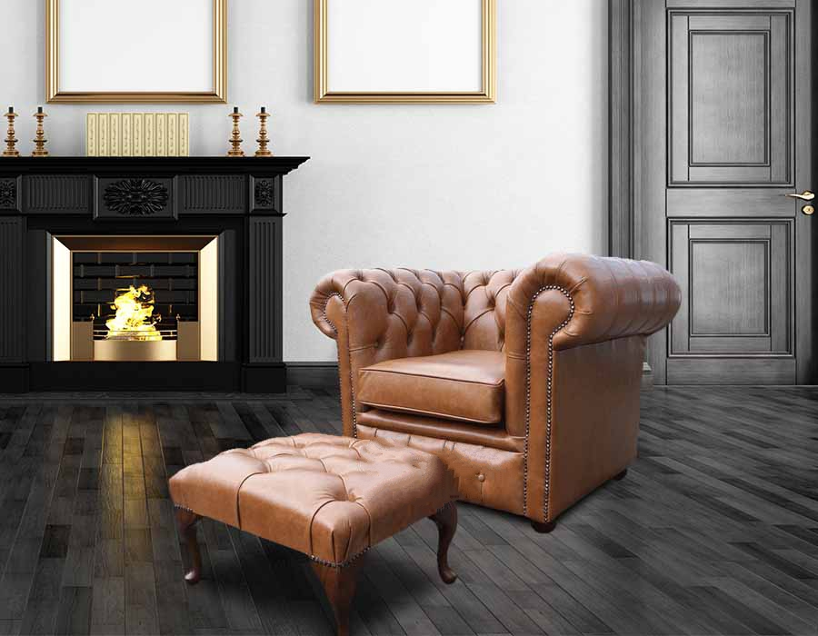Fine Chesterfield Low Back Armchair Old English Tan Leather Footstool Offer Pabps2019 Chair Design Images Pabps2019Com