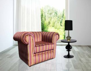 Chesterfield Low Back Club ArmChair Riga Multi Stripe