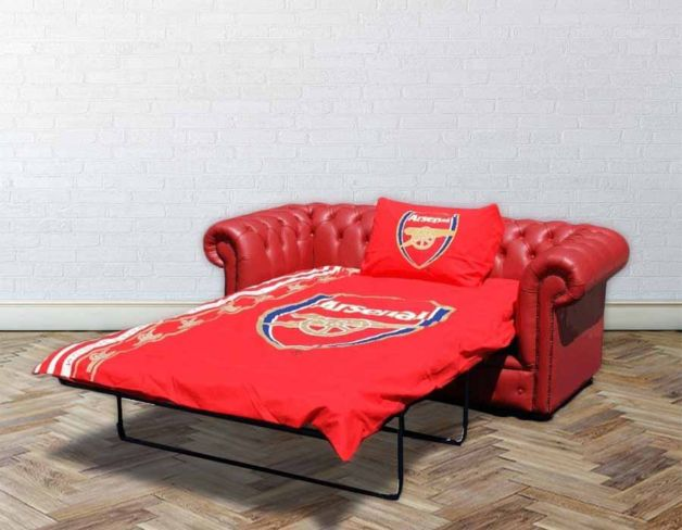 Chesterfield Red Leather Arsenal Sofabed UK Manufactured