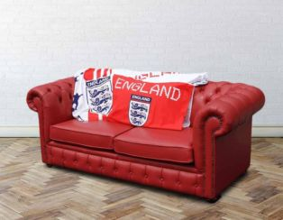 Chesterfield Red Leather England Sofabed UK Manufactured