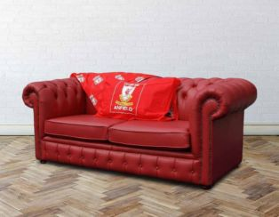 Chesterfield Red Leather Liverpool Sofabed UK Manufactured