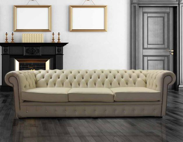 Chesterfield Crystal Diamond 4 Seater Leather Sofa Cream Leather Offer