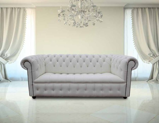 Chesterfield Crystal Diamond Diamante Crystal White Leather Sofa Offer