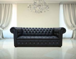 Chesterfield 3 Seater Crystal Diamond Leather Sofa Offer