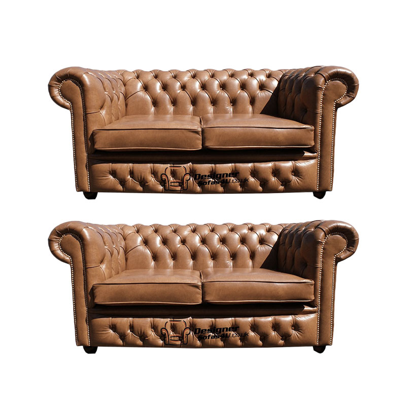 Chesterfield 2 2 Old English Tan Leather Sofa Offer