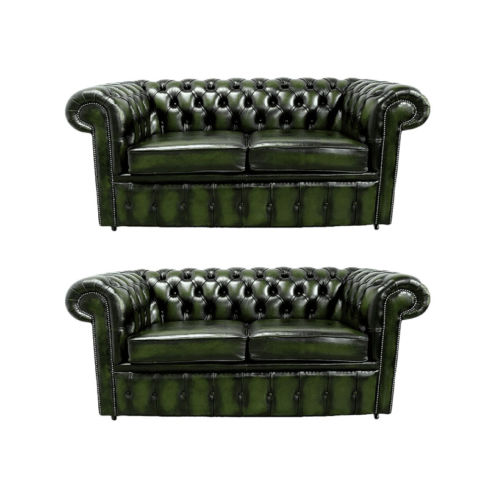 Chesterfield 2+2 Leather Sofa Offer antique Green