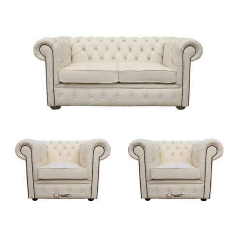 Chesterfield 2 Seater Sofa + 2 x Club Chairs Leather Sofa Suite Offer Ivory