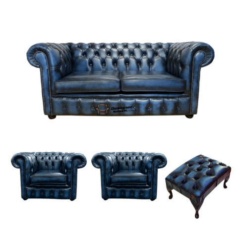 Chesterfield 2 Seater Sofa + 2 x Club Chairs + Footstool Leather Sofa Suite Offer Antique blue