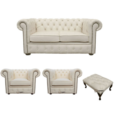 Chesterfield 2 Seater Sofa + 2 x Club Chairs + Footstool Leather Sofa Suite Offer Ivory