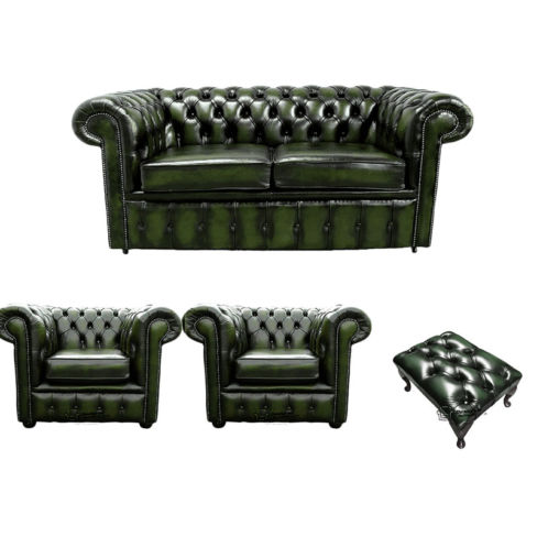 Chesterfield 2 Seater Sofa + 2 x Club Chairs + Footstool Leather Sofa Suite Offer Antique Green