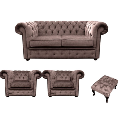 Chesterfield 2 Seater + 2 x Club chairs + Footstool Harmony Charcoal Velvet Sofa Suite Offer