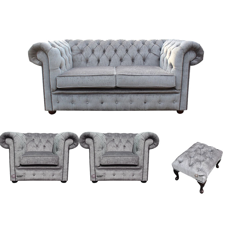 Chesterfield 2 Seater + 2 x Club chairs + Footstool Belvedere Pewter Grey  Sofa Suite Offer