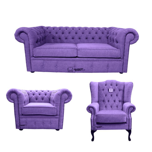 Chesterfield 2 Seater Sofa + Club Chair + Mallory Wing Chair Verity Purple Fabric Sofa Suite Offer