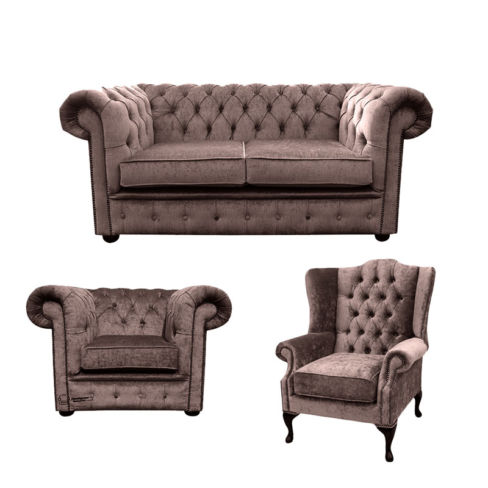 Chesterfield 2 Seater Sofa + Club Chair + Mallory Wing Chair Harmony Charcoal Velvet Sofa Suite Offer