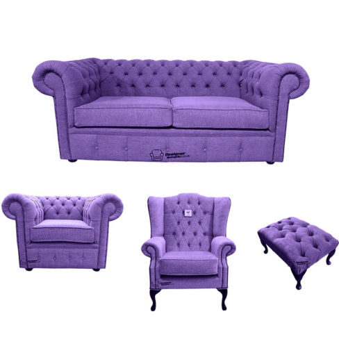 Chesterfield 2 Seater Sofa + Club Chair + Mallory Wing Chair+Footstool Verity Purple Fabric Sofa Suite Offer