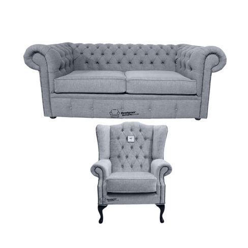 Chesterfield 2 Seater Sofa + Mallory Wing Chair Verity Plain Steel Fabric Sofa Suite Offer