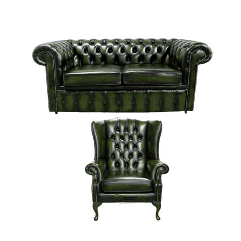 Chesterfield 2 Seater Sofa + Mallory Wing Chair Leather Sofa Suite Offer Antique Green