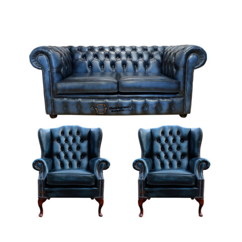 Chesterfield 2 Seater Sofa + 2 x Mallory Wing Chairs Leather Sofa Suite Offer Antique Blue