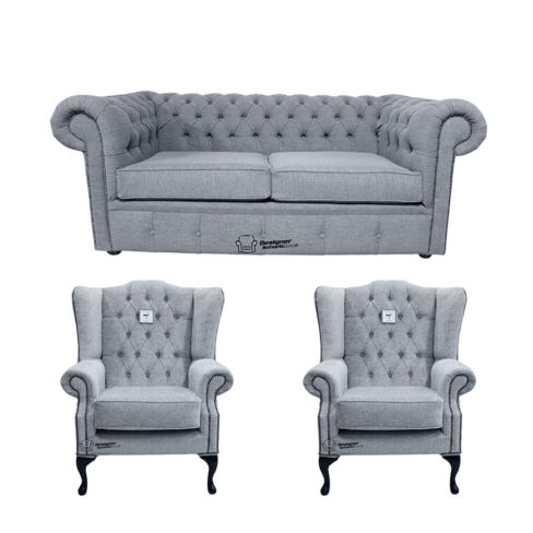 Chesterfield 2 Seater Sofa + 2 x Mallory Wing Chair Verity Plain Steel Fabric Sofa Suite Offer