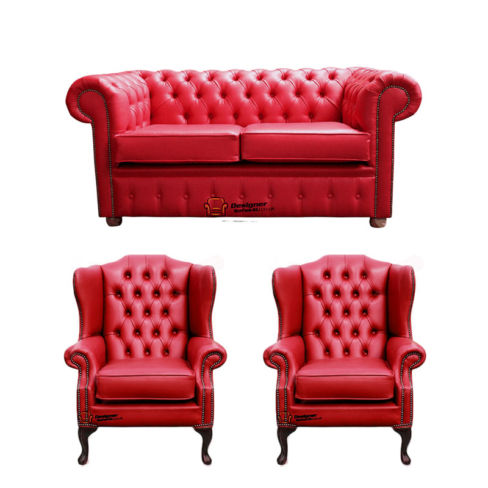 Chesterfield 2 Seater Sofa + 2 x Mallory Wing Chairs Old English Gamay Red Leather Sofa Offer