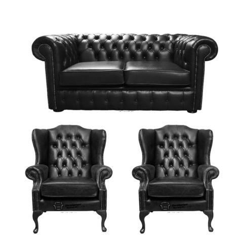 Chesterfield 2 Seater Sofa + 2 x Mallory Wing Chairs Old English Black Leather Sofa Offer