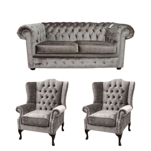 Chesterfield 2 Seater Sofa + 2 x Mallory Wing Chairs Boutique Beige Velvet Sofa Suite Offer