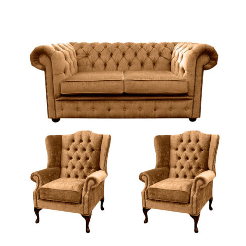 Chesterfield 2 Seater Sofa + 2 x  Mallory Wing Chairs Harmony Gold Velvet Sofa Suite Offer