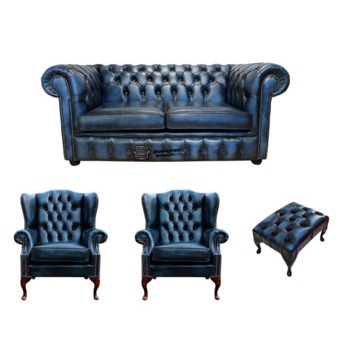 Chesterfield 2 Seater Sofa + 2 x Mallory Wing Chair + Footstool Leather Sofa Suite Offer Antique Blue
