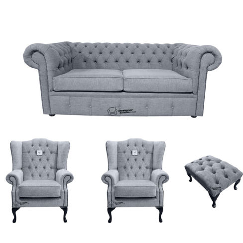 Chesterfield 2 Seater Sofa + 2 x Mallory Wing Chair + Footstool Verity Plain Steel Fabric Sofa Suite Offer