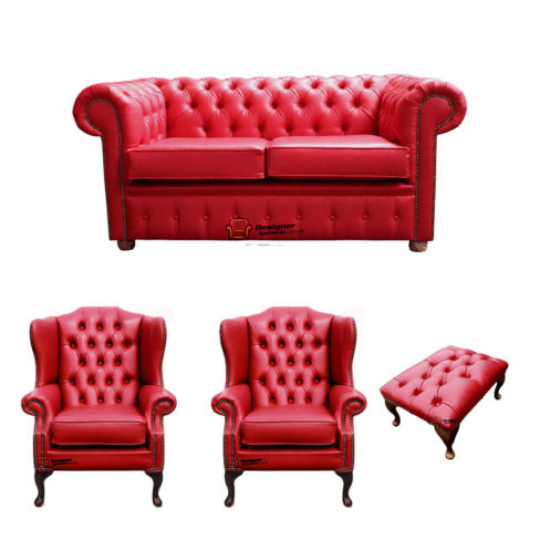 Chesterfield 2 Seater Sofa + 2 x Mallory Wing Chairs + Footstool Old English Gamay Red Leather Sofa Offer