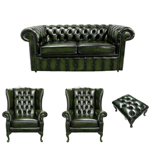 Chesterfield 2 Seater Sofa + 2 x Mallory Wing Chair + Footstool Leather Sofa Suite Offer Antique Green