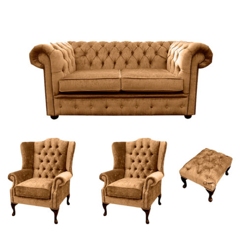 Chesterfield 2 Seater Sofa + 2 x  Mallory Wing Chairs + Footstool Harmony Gold Velvet Sofa Suite Offer