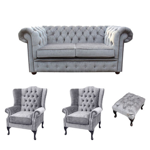 Chesterfield 2 Seater Sofa + 2 x Mallory Wing Chair + Footstool Harmony Dusk Velvet Sofa Suite Offer