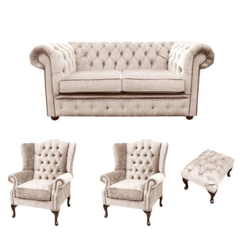 Chesterfield 2 Seater Sofa + 2 x Mallory Wing Chair + Footstool Harmony Ivory Velvet Sofa Suite Offer