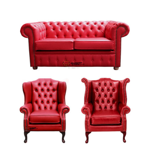 Chesterfield 2 Seater Sofa + 1 x Mallory Wing Chair + 1 x Queen Anne Chair Old English Gamay Red Leather Sofa Offer