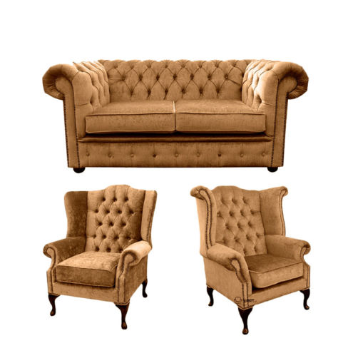Chesterfield 2 Seater Sofa + 1 x  Mallory Wing Chair + 1 x Queen Anne Wing Chair Harmony Gold Velvet Sofa Suite Offer