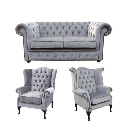 Chesterfield 2 Seater Sofa + 1 x  Mallory Wing Chair + 1 x Queen Anne Wing Chair Harmony Dusk Velvet Sofa Suite Offer