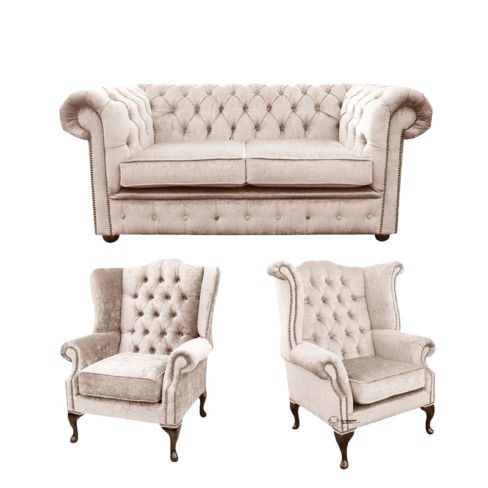 Chesterfield 2 Seater Sofa + 1 x  Mallory Wing Chair + 1 x Queen Anne Wing Chair Harmony Ivory Velvet Sofa Suite Offer