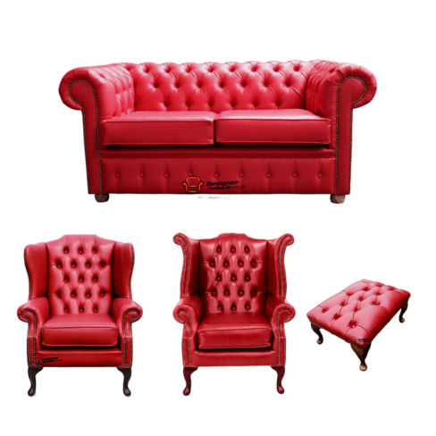 Chesterfield 2 Seater Sofa + 1 x Mallory Wing Chair + 1 x Queen Anne Chair + Footstool Old English Gamay Red Leather Sofa Offer