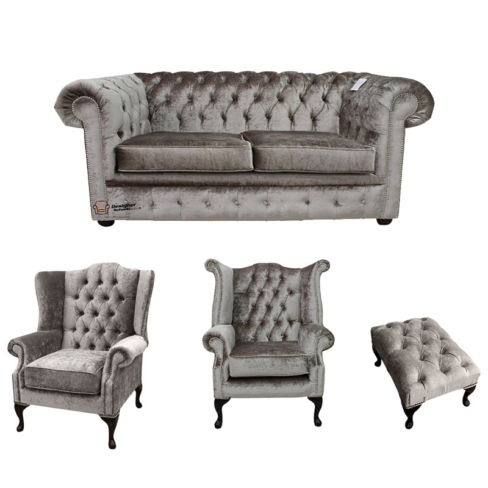 Chesterfield 2 Seater Sofa + Mallory Wing Chair + Queen Anne Chair + Footstool Boutique Beige Velvet Sofa Suite Offer